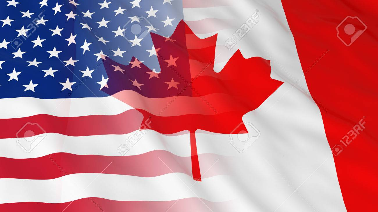 american and canadian relations concept merged flags of canada