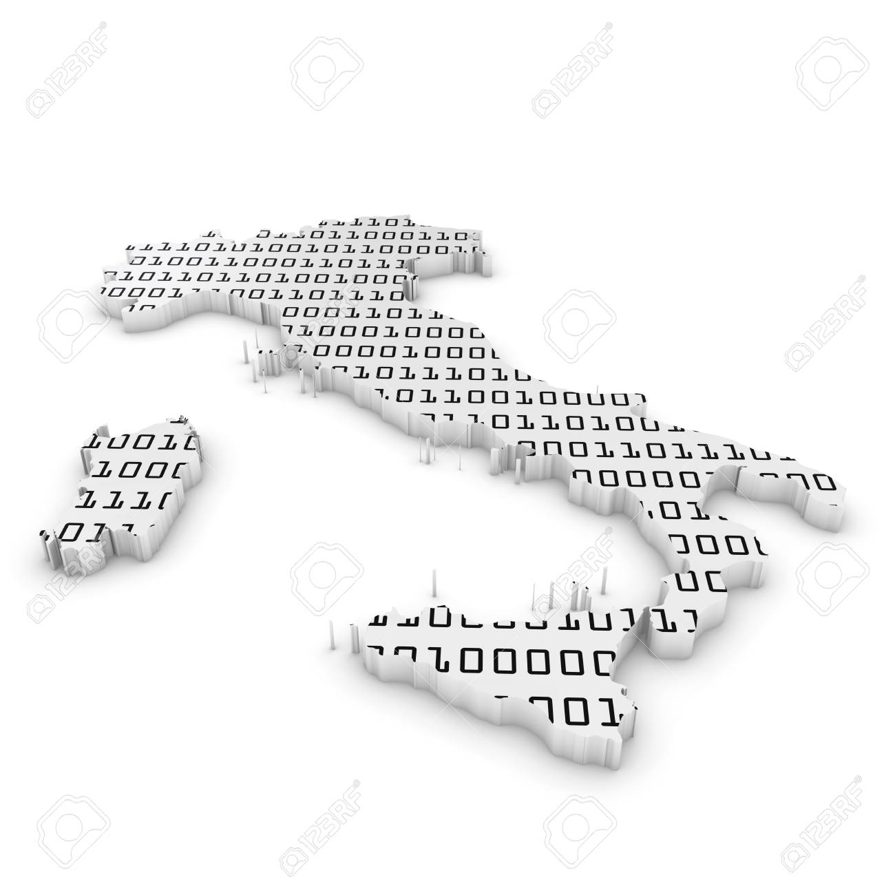 Map Of Italy Outline.3d Illustration Map Outline Of Italy With Black And White Binary