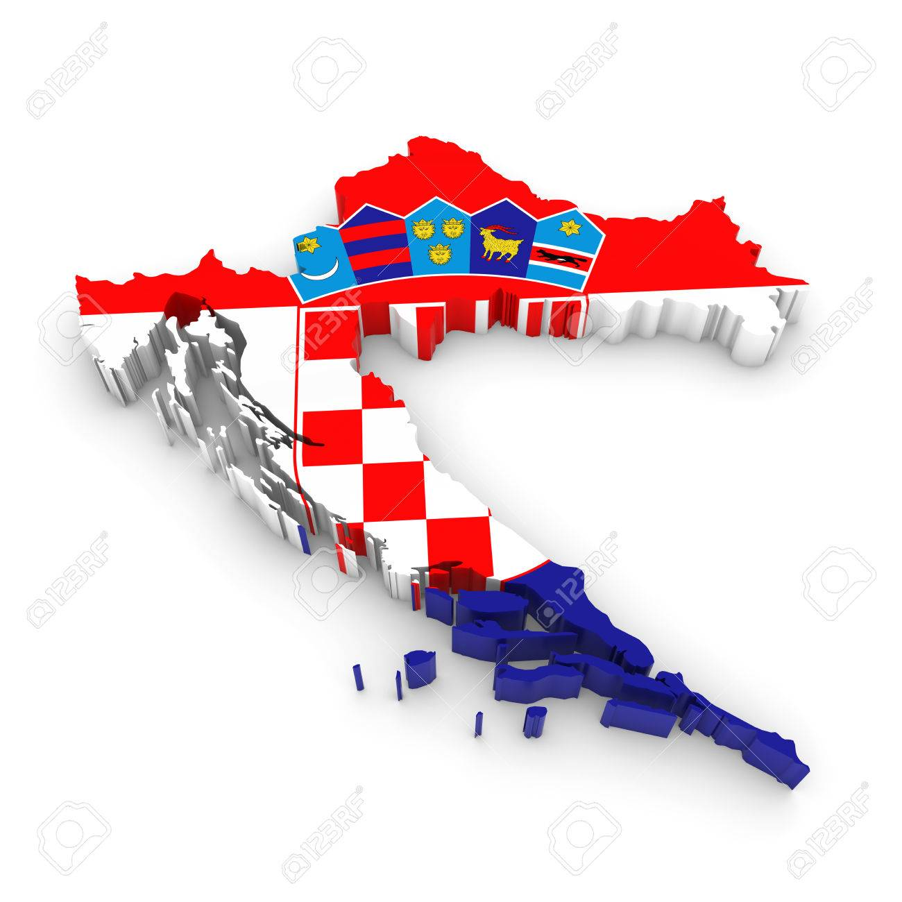 3d Illustration Map Outline Of Croatia With The Croatian Flag Stock