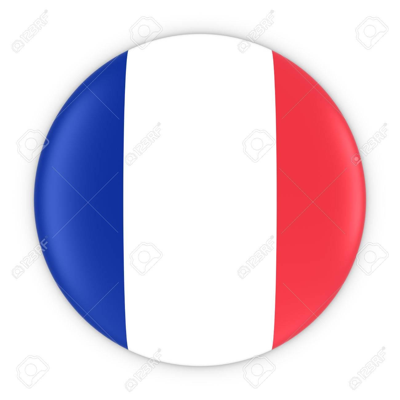 Bouton Drapeau Français - Drapeau De La France Badge Illustration 3D Banque D'Images Et Photos Libres De Droits. Image 58915463.