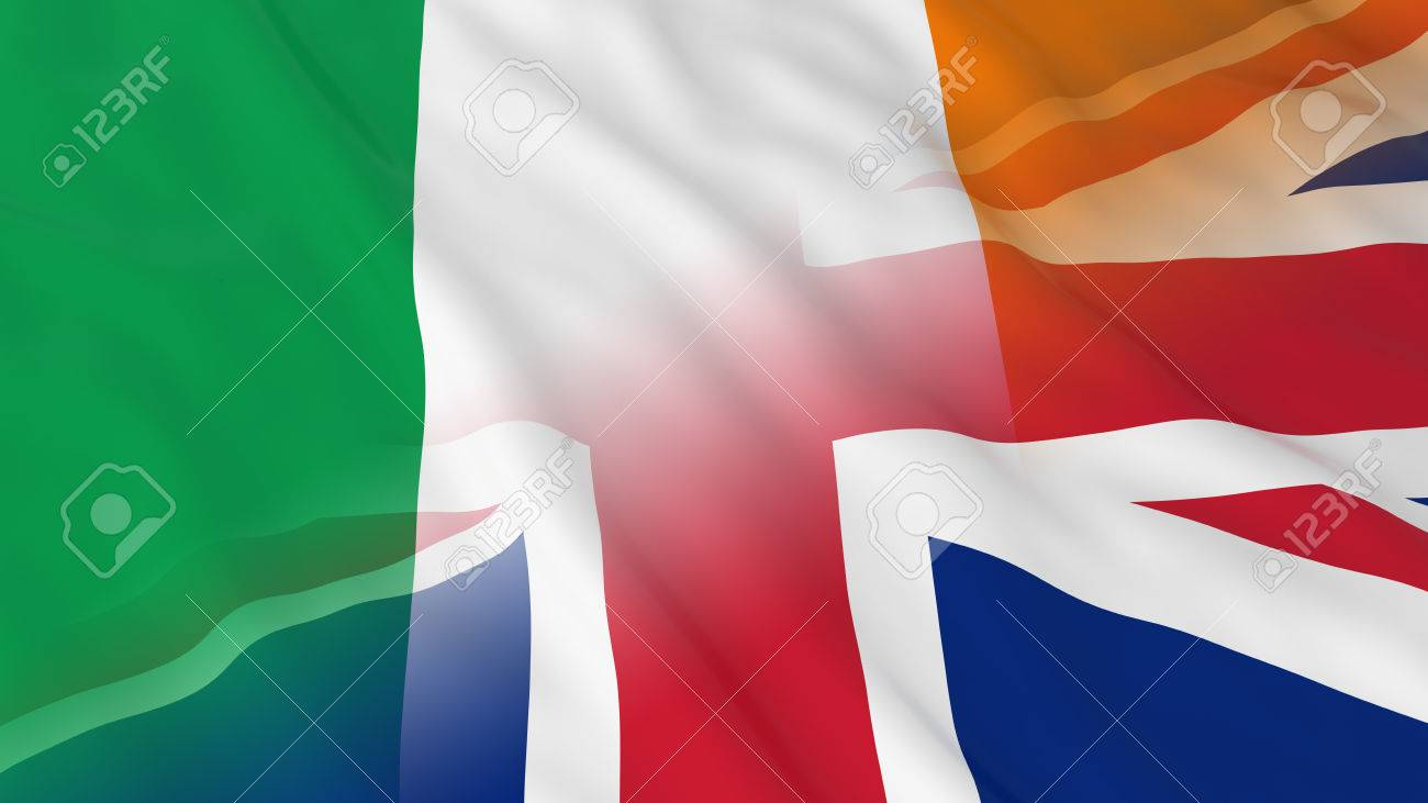 irish and british relations concept merged flags of ireland