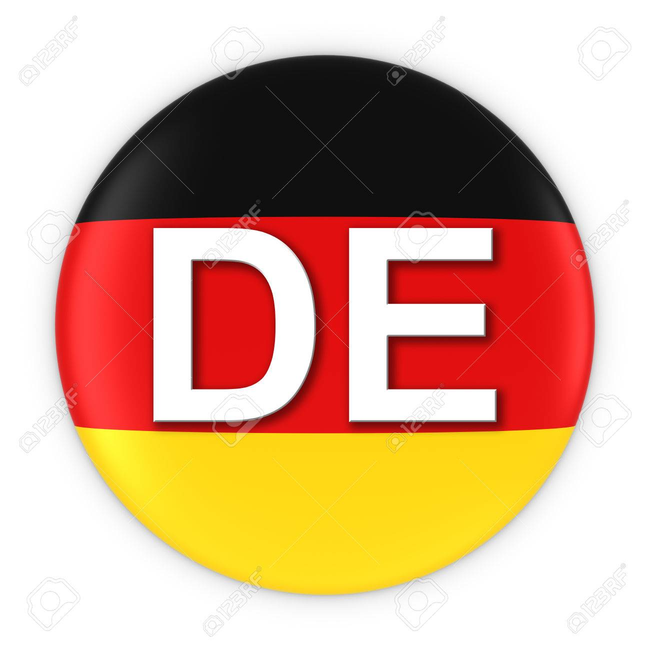 Germany Flag Button With Two Letter Country ISO Code 3D