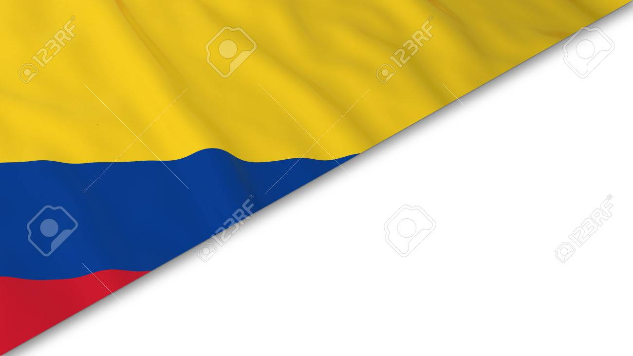 colombian flag corner overlaid on white background 3d illustration