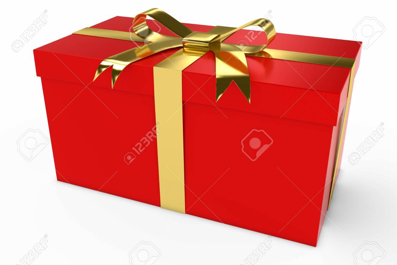 赤とゴールドのクリスマス プレゼント ギフト ボックス 3 D イラスト