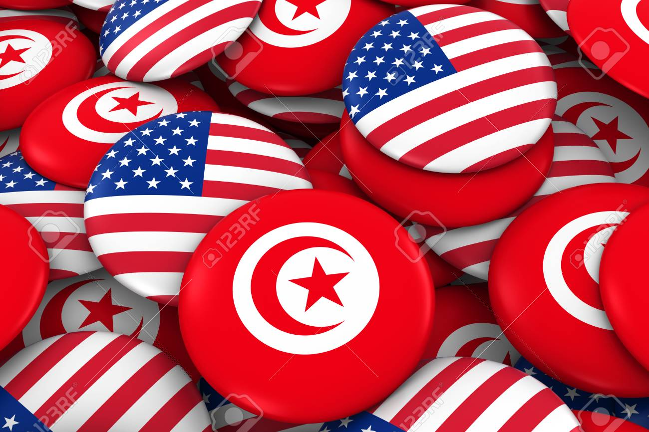 Usa And Tunisia Badges Background Pile Of American And Tunisian Stock Photo Picture And Royalty Free Image Image 72105206