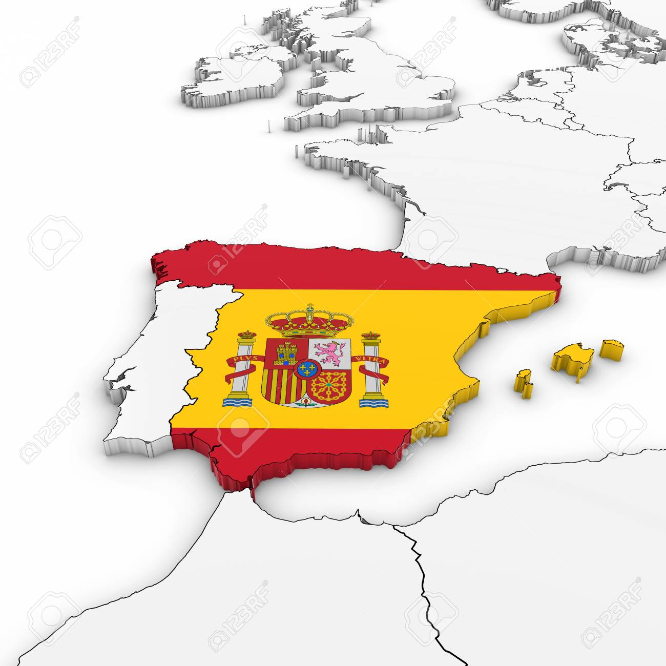 3d Map Of Spain.Stock Illustration