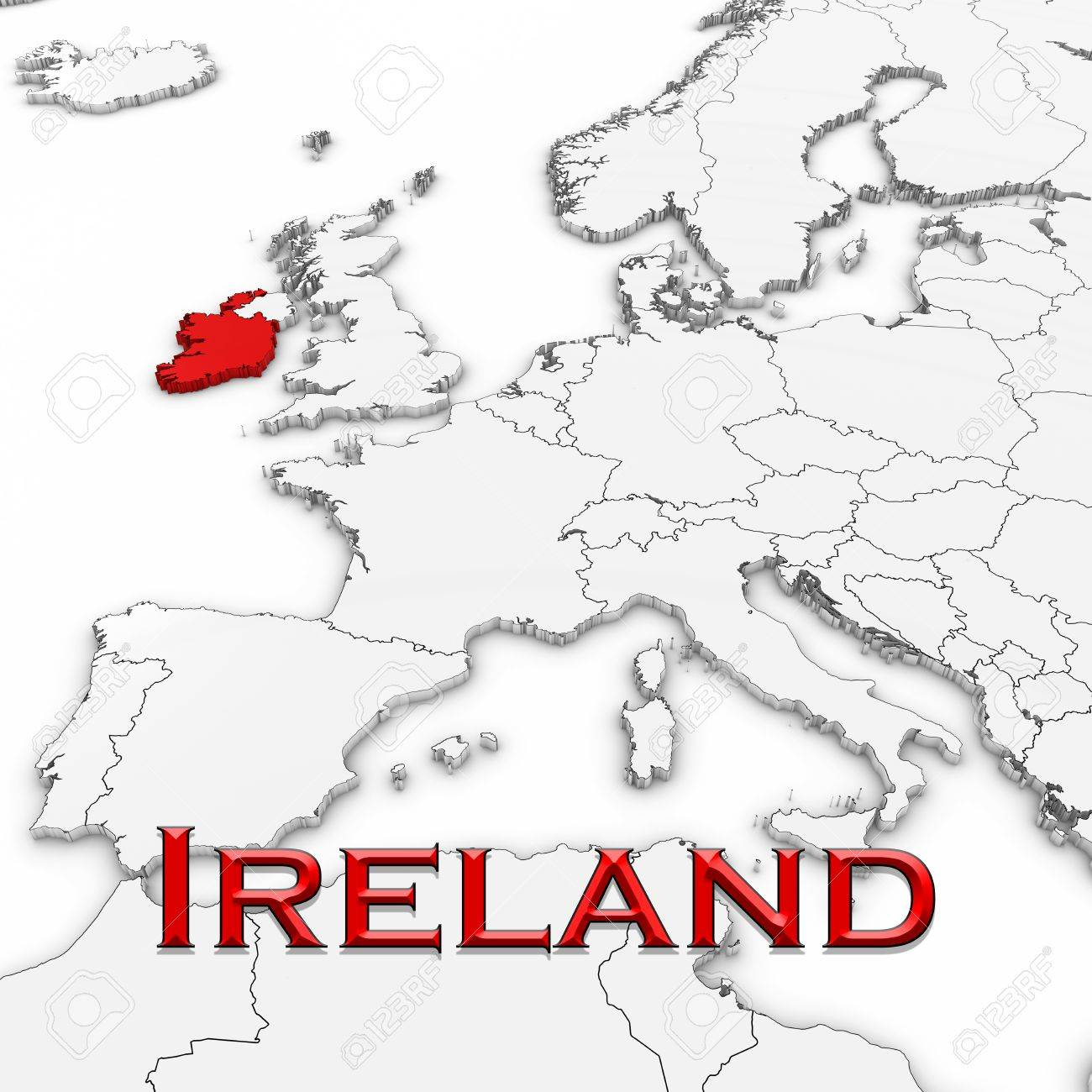 Country Map Of Ireland.3d Map Of Ireland With Country Name Highlighted Red On White Stock