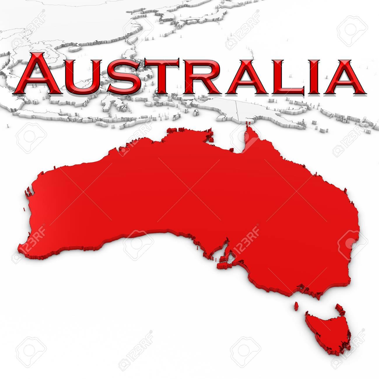 Free 3d Map Of Australia.Stock Illustration