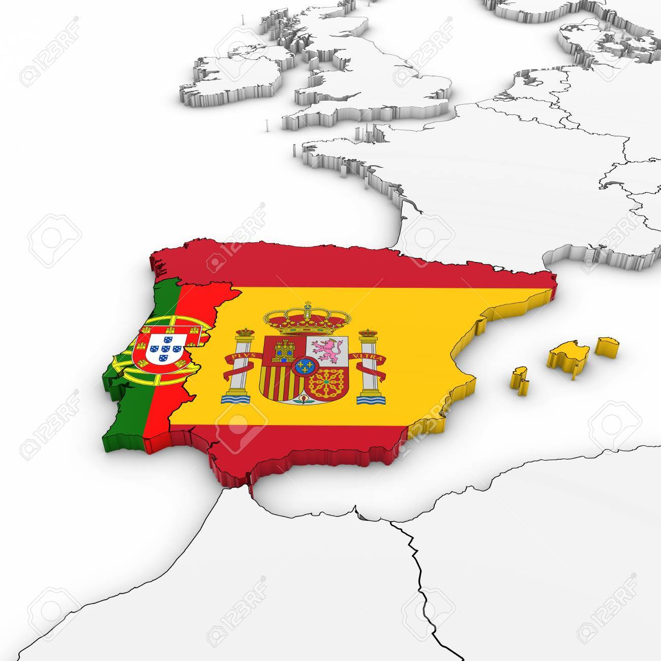 3d Map Of Spain And Portugal With National Flags On White Background