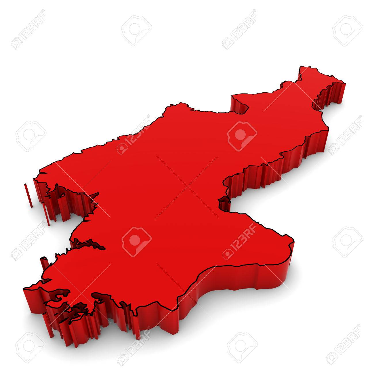 North Korea Map Outline In Red 3d Illustration Stock Photo Picture