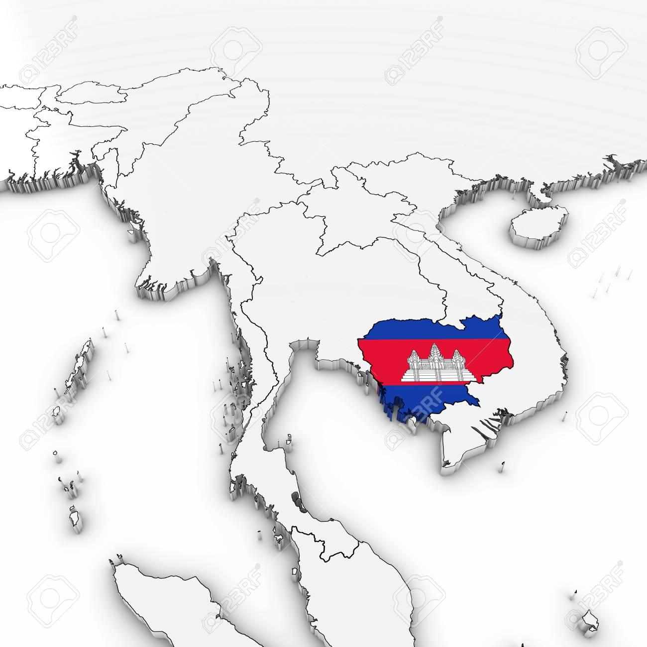 3d Karte Von Kambodscha Mit Kambodschanischen Flagge Auf Weissem