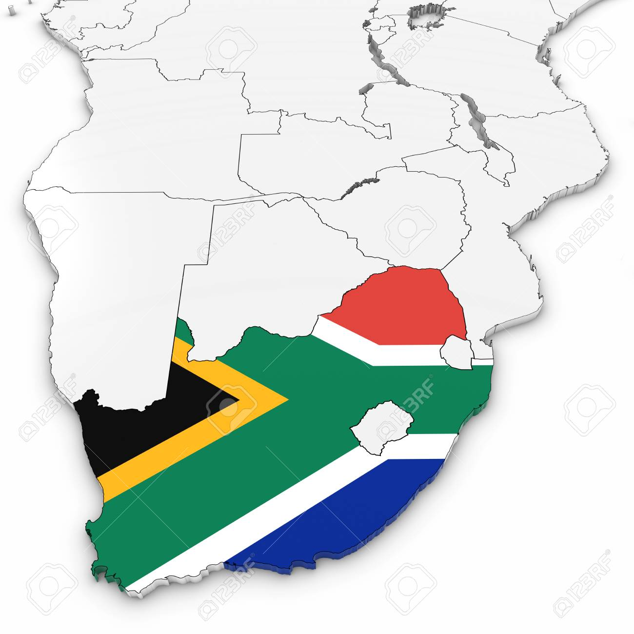 South Africa Flag In Africa Map.Stock Illustration