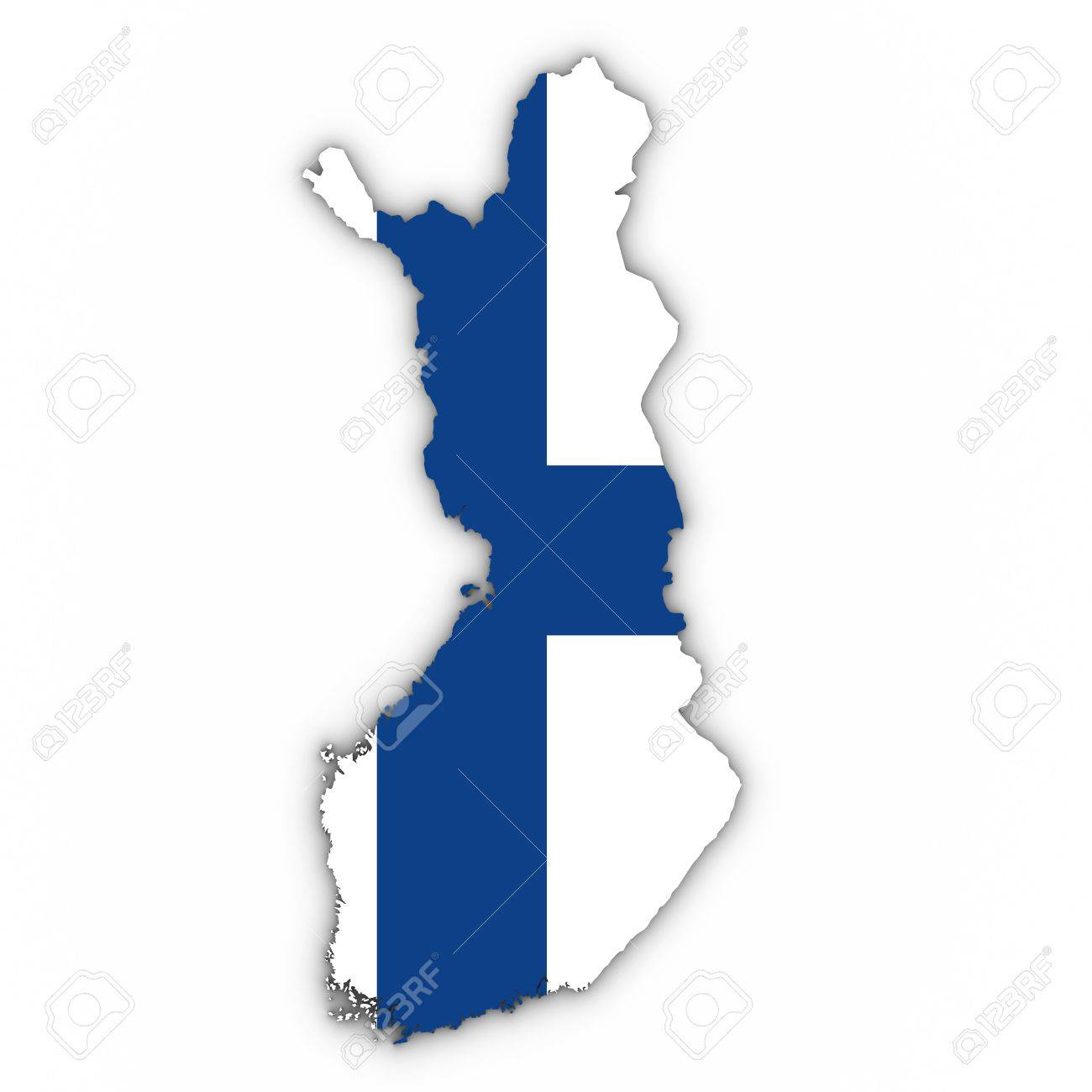 Finland Map Outline With Finnish Flag On White With Shadows 3d
