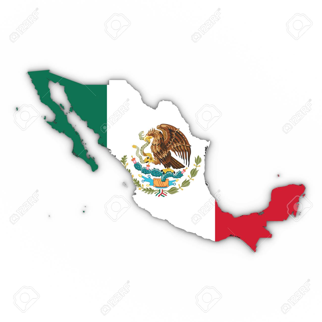 Mexico Map Outline With Mexican Flag On White With Shadows 3D