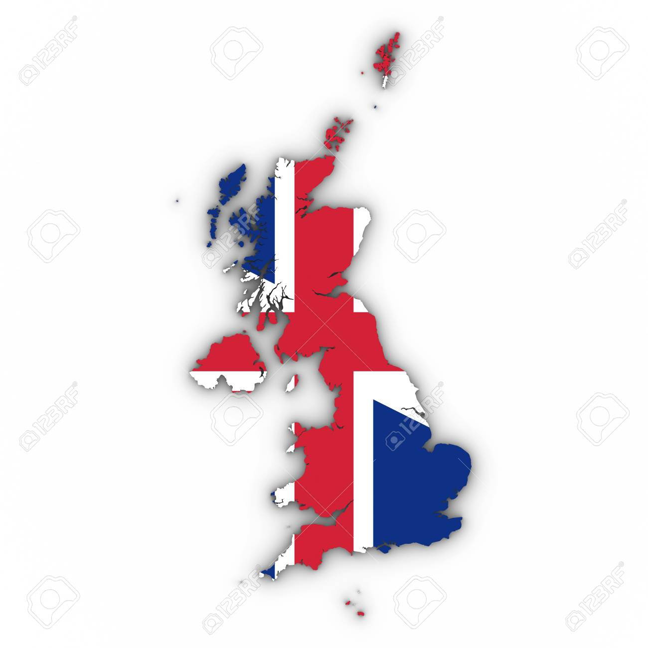Uk Map Outline United Kingdom Map Outline With British Flag On White With Shadows  Uk Map Outline