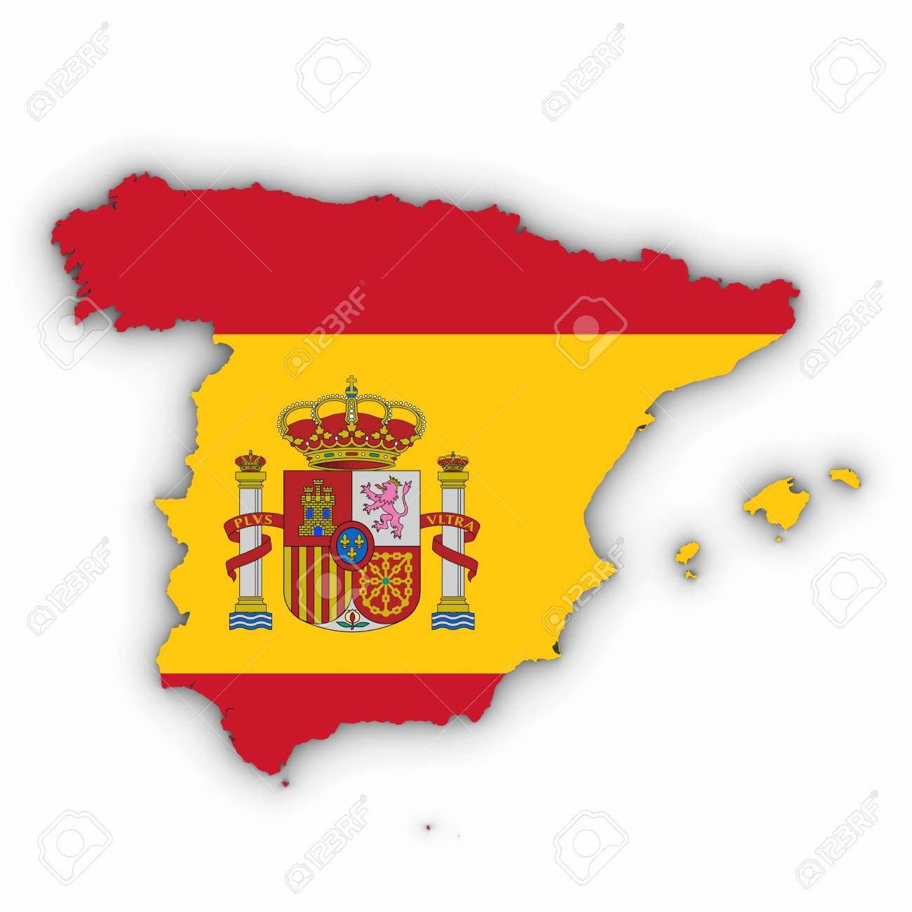 Spain Map Outline With Spanish Flag On White With Shadows 3d Stock