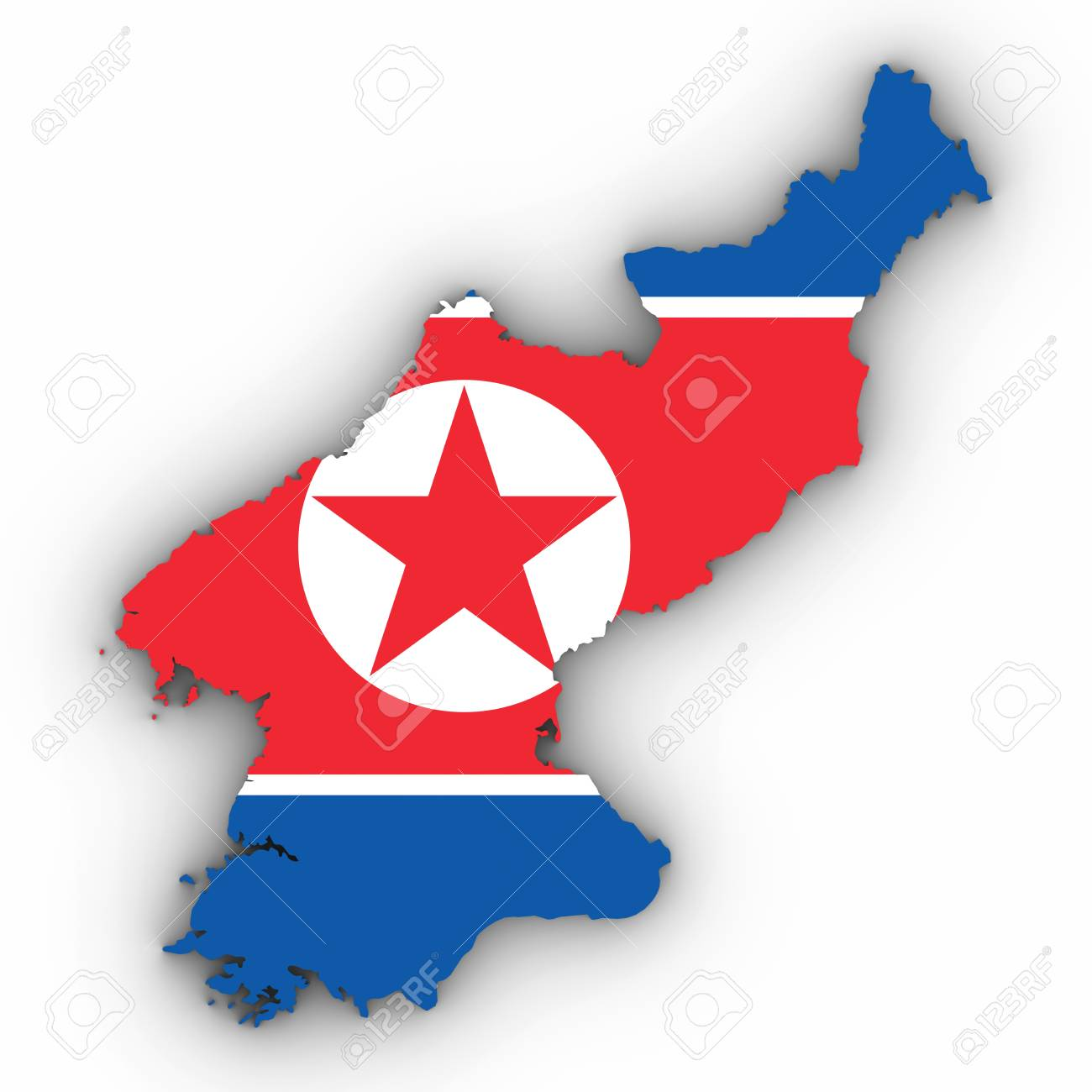North Korea Map Outline With North Korean Flag On White With.. Stock ...