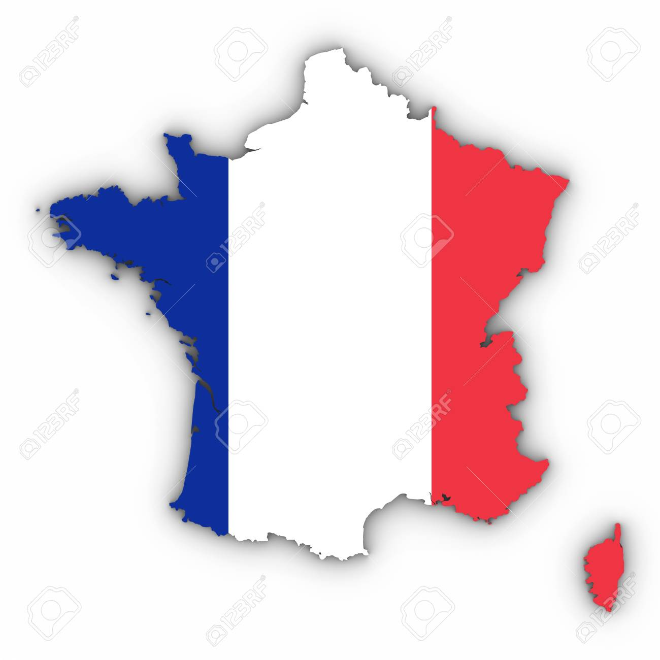 France Map Outline With French Flag On White With Shadows 3d Stock