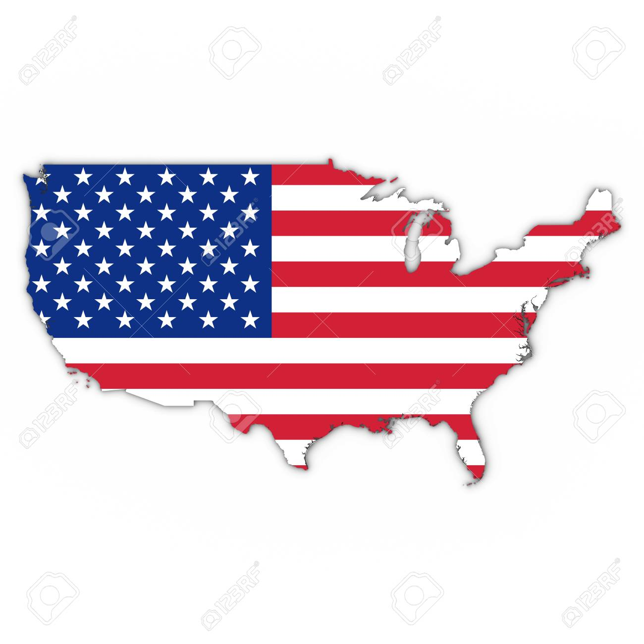 American Flag Us Map United States Map Outline With American Flag On White With Shadows