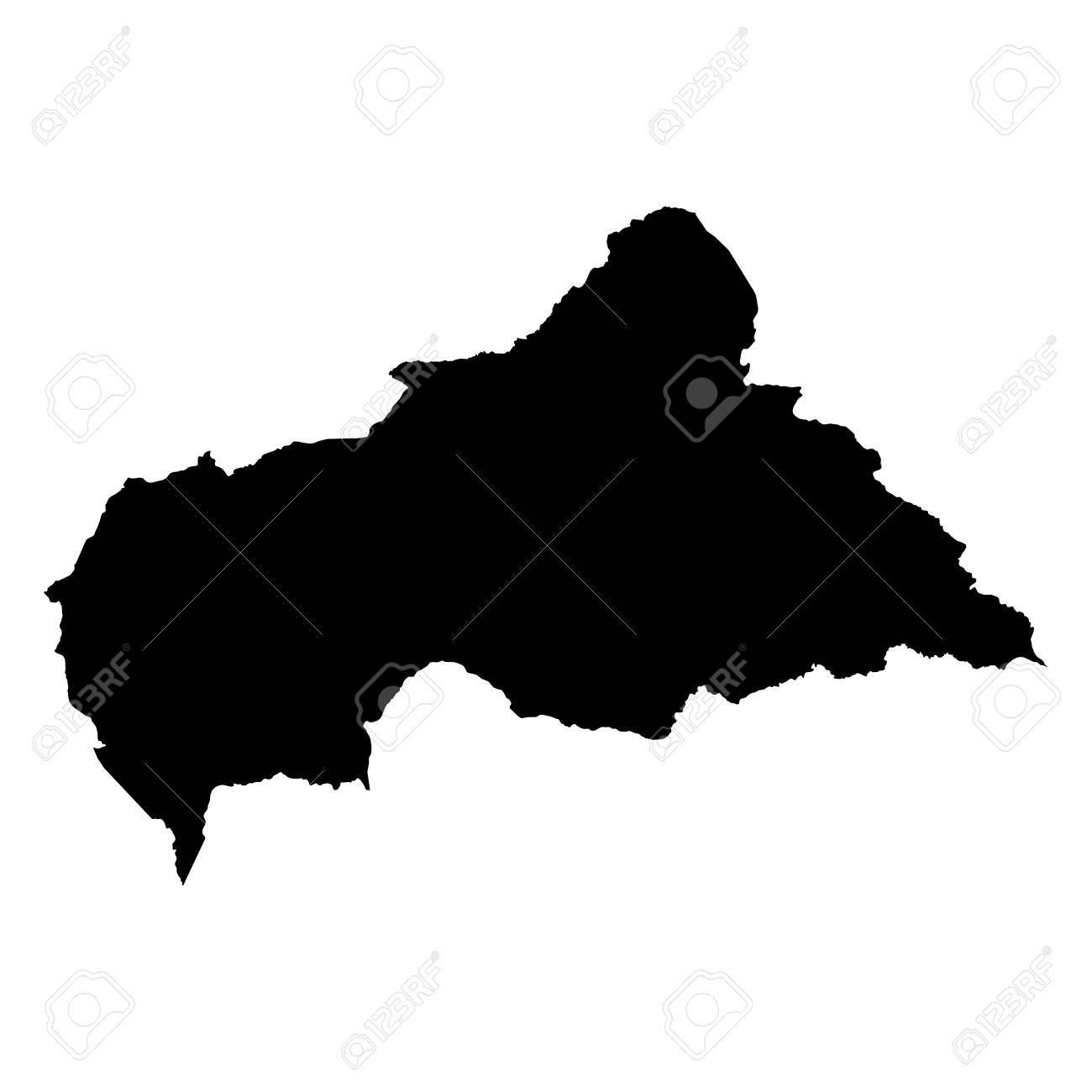 Central African Republic Black Silhouette Map Outline Isolated