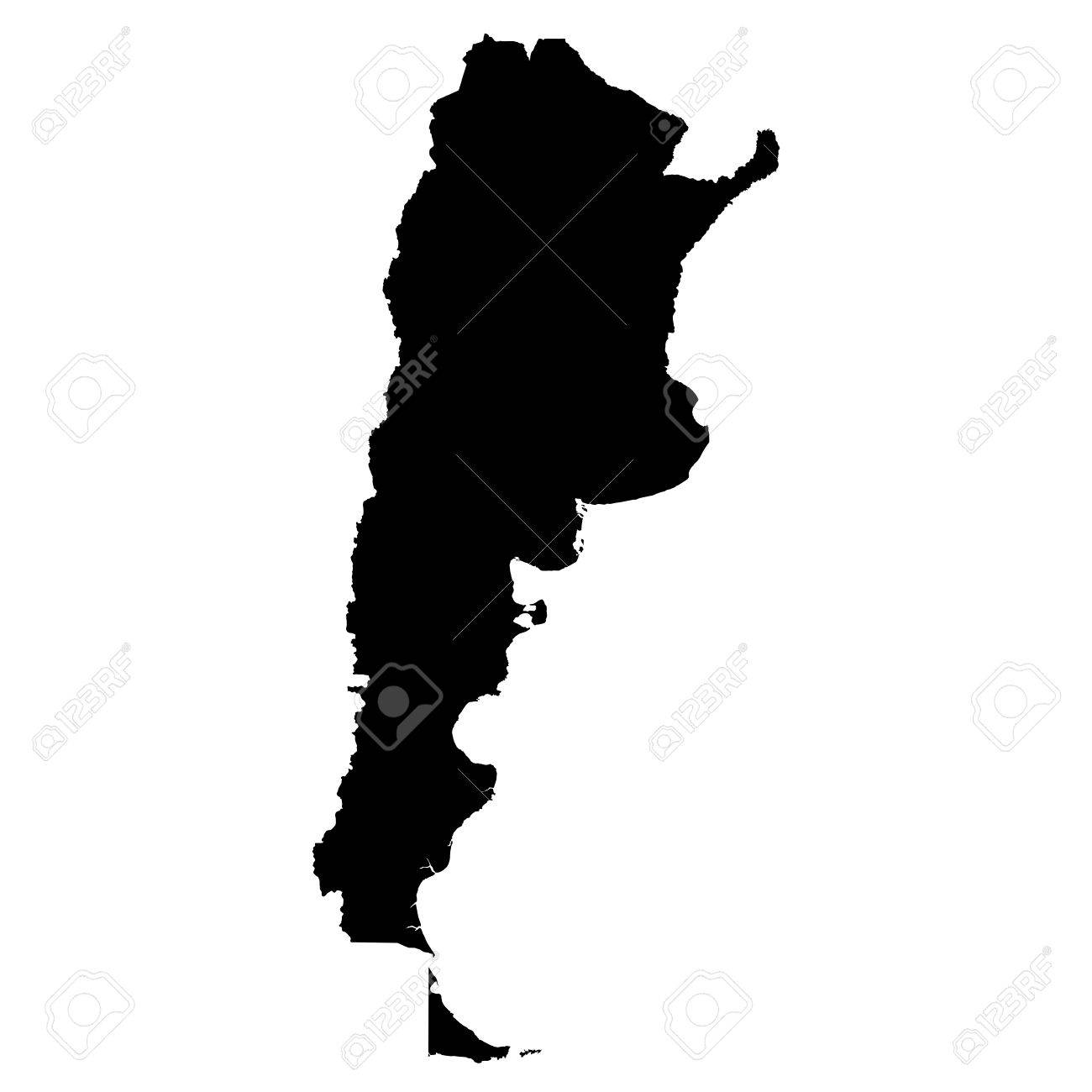 Argentina Black Silhouette Map Outline Isolated On White D - Argentina map outline