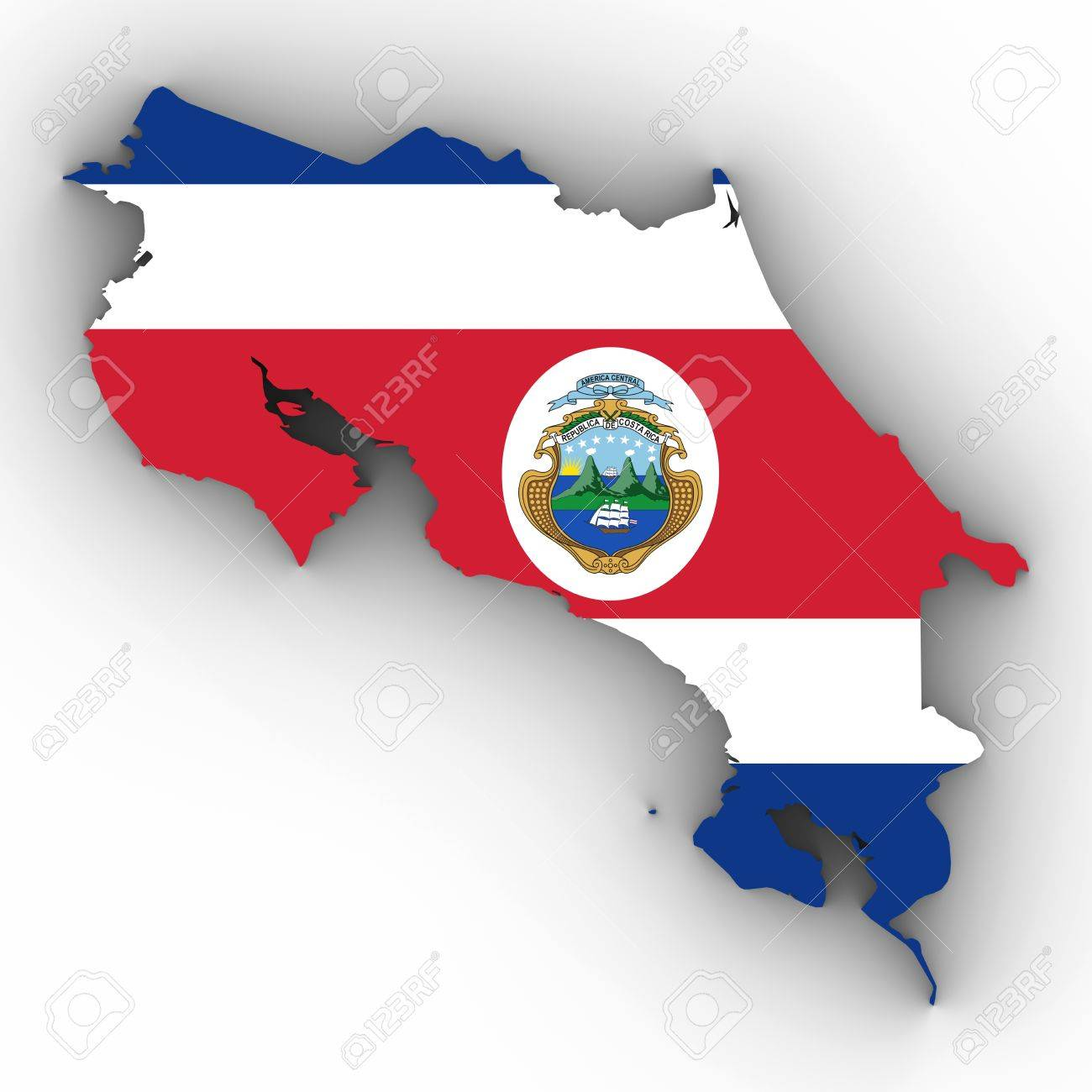 costa rica map outline with costa rican flag on white with shadows