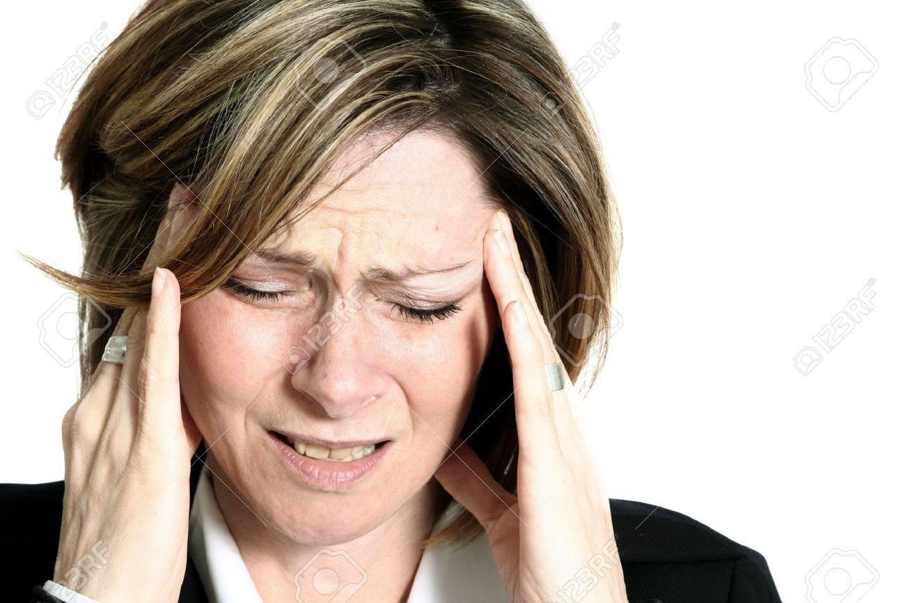 businesswoman with headache Stock Photo - 329472