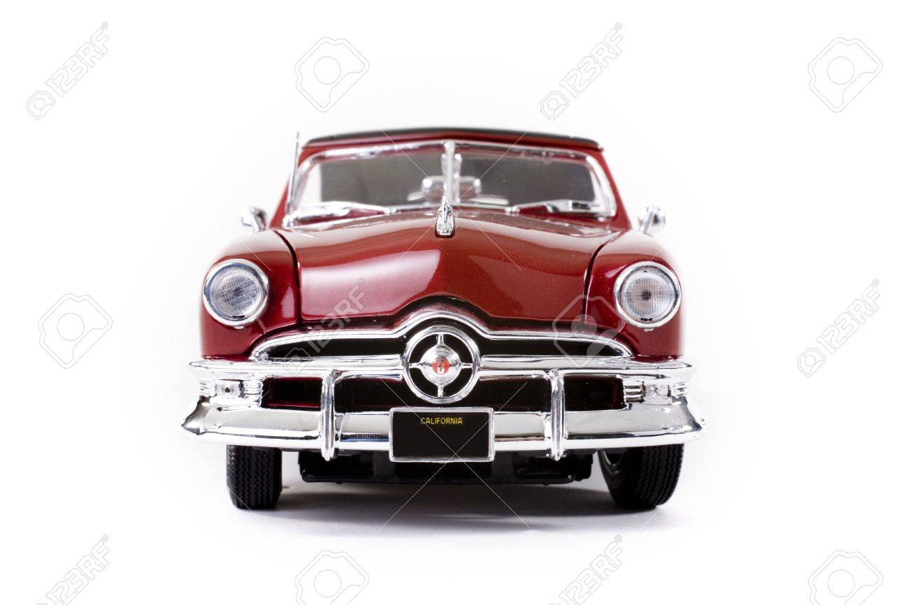 Close Up Of Collectible Car Over White Background Stock Photo