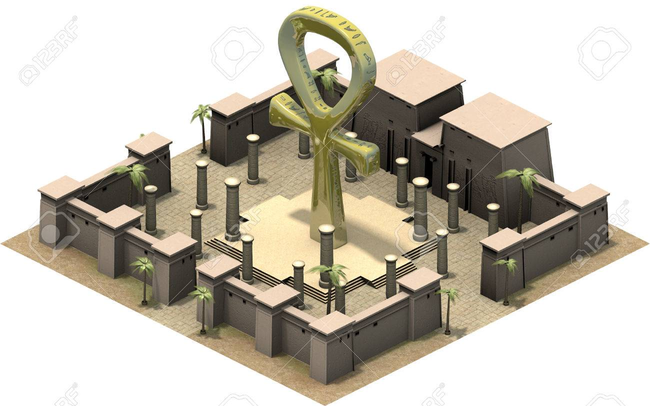 isometric buildings of ancient egypt the ankh symbol 3d rendering
