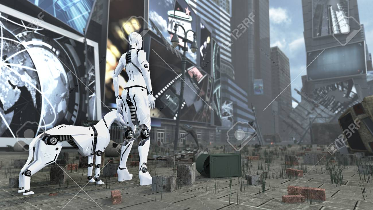 Sci Fi Robot Woman And Cyborg Dog On Apocalyptic Time Square