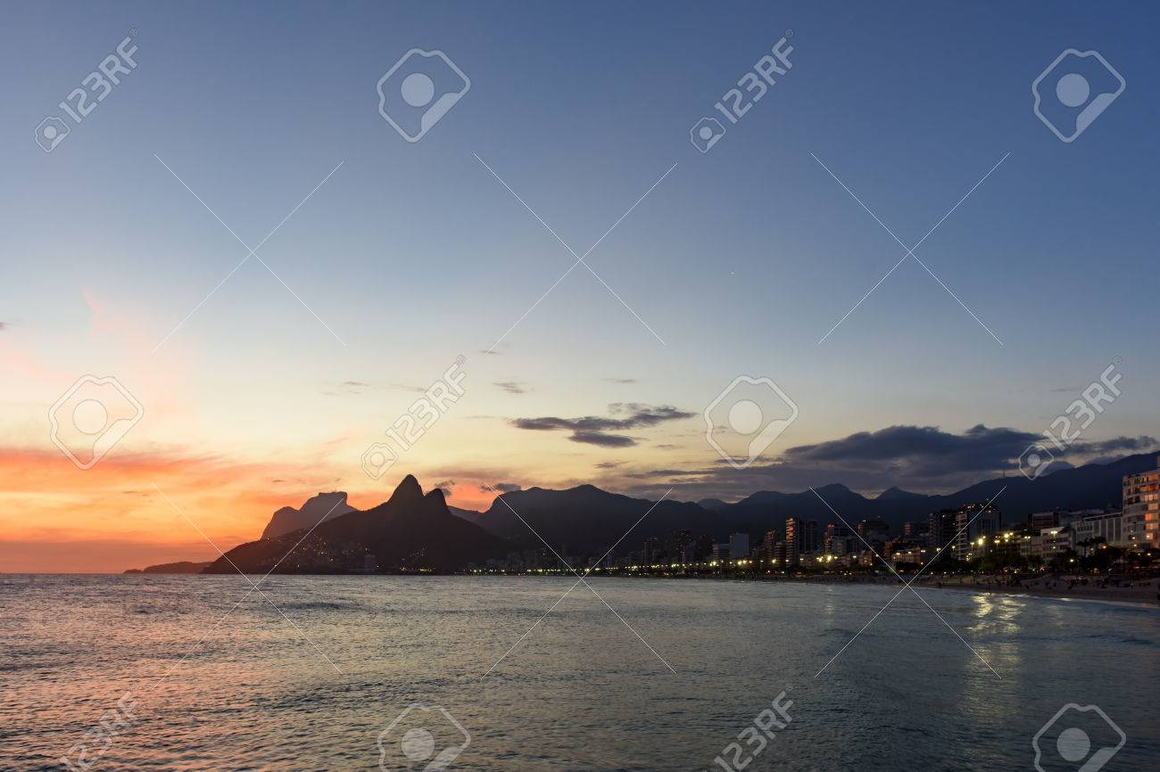 Landscape Of The Beaches Arpoador Ipanema And Leblon In Rio De Janeiro During Dusk