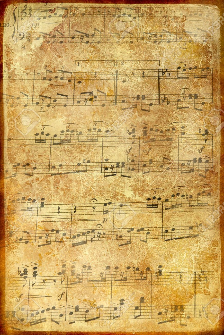 old grungy musical page with note signs Stock Photo - 1826707