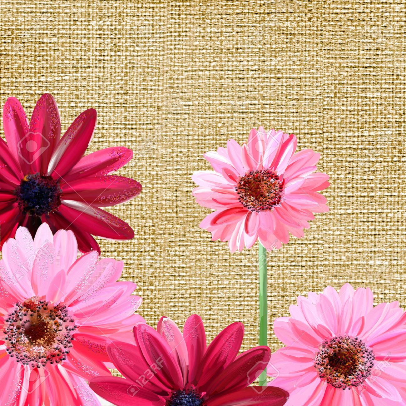 Flower Paintings On Canvas Pink Comousar