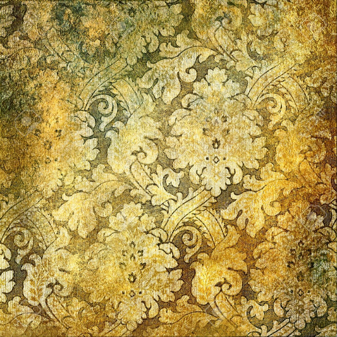 Vintage Golden Wallpaper Stock Photo Picture And Royalty Free Image
