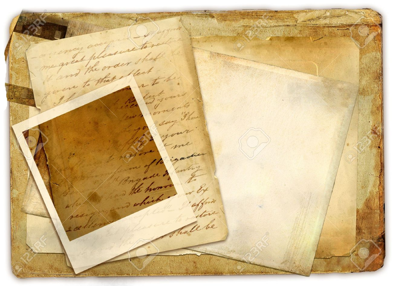 vintage papers with instant frame Stock Photo - 3878445