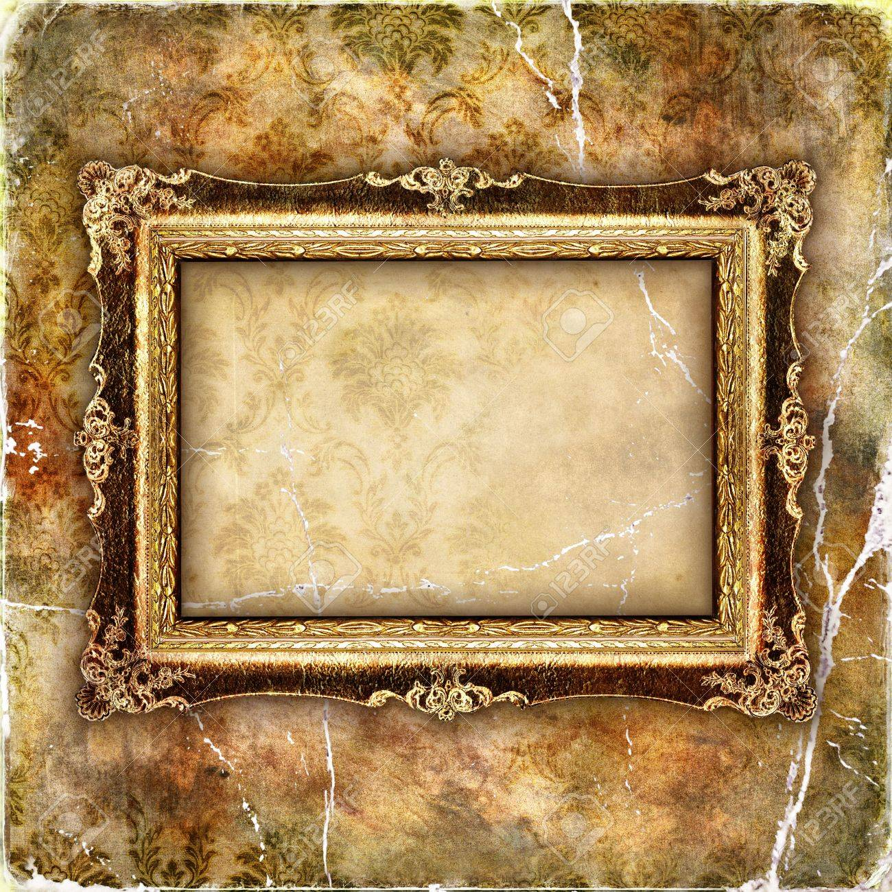 Empty Frame Over Old Wallpaper Stock Photo Picture And Royalty Free