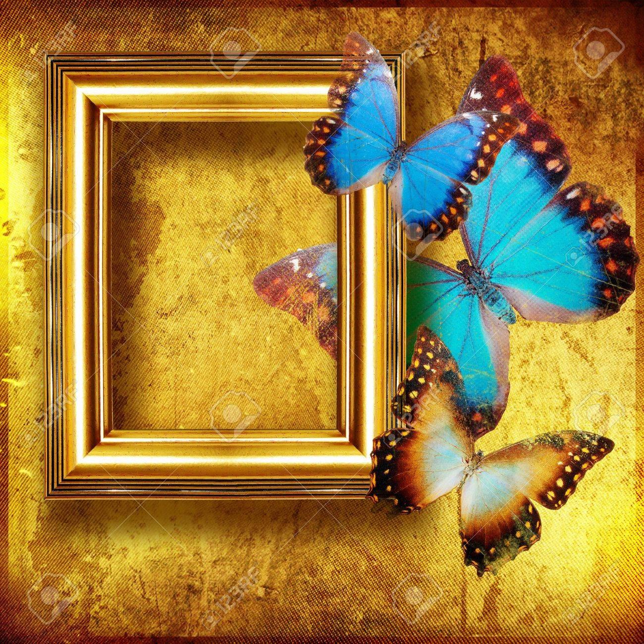 Fondo Dorado Con Decoración De Mariposas Y El Marco Fotos, Retratos ...