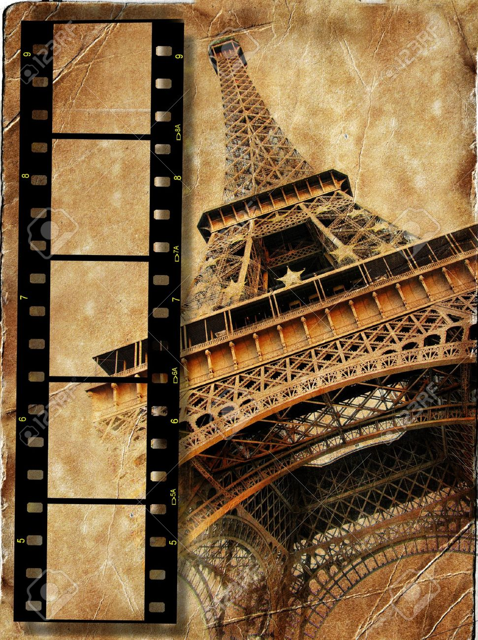 Scrapbook paper eiffel tower - Stock Photo Vintage Background With Film Strip