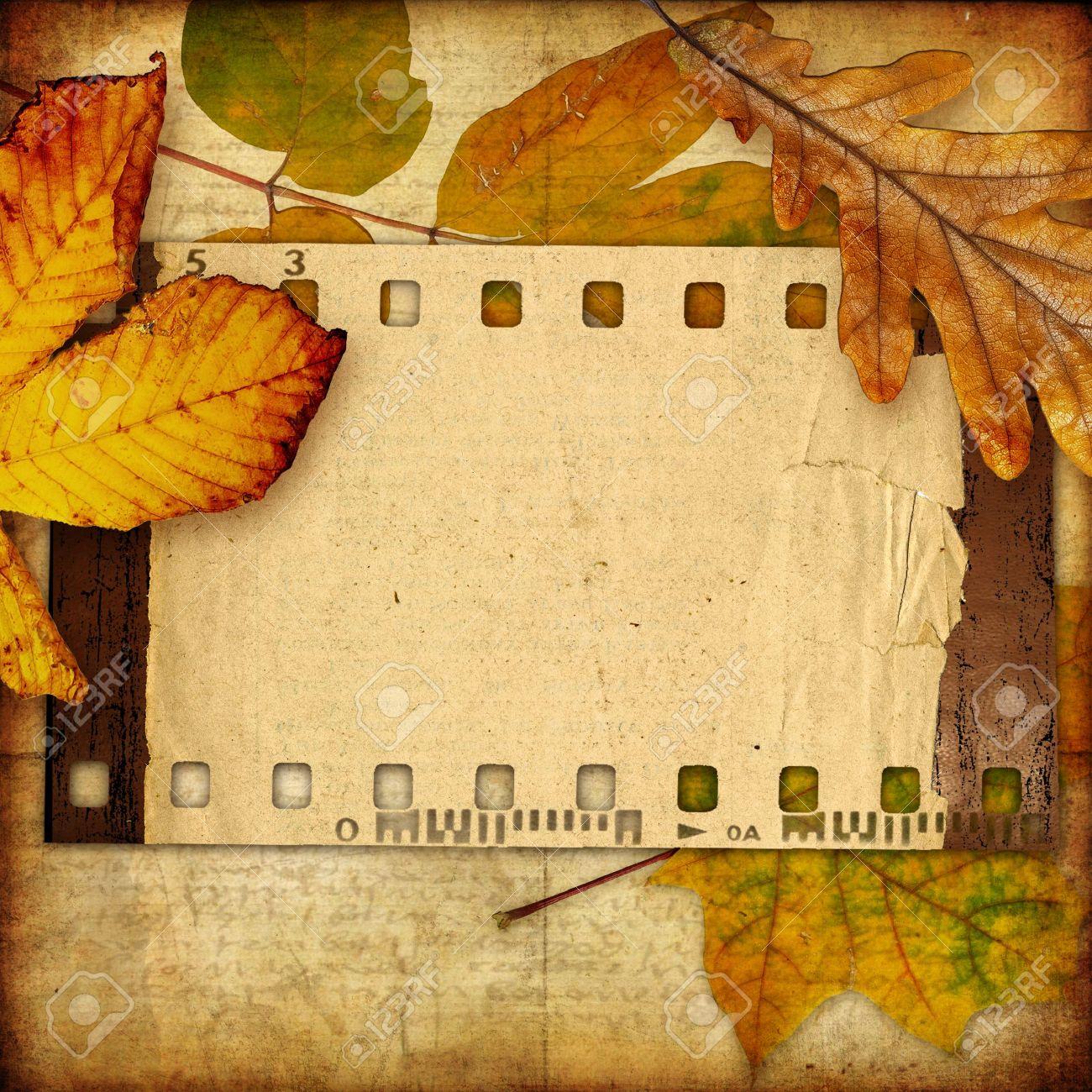 autumn photoalbum with retro film strip Stock Photo - 5471589