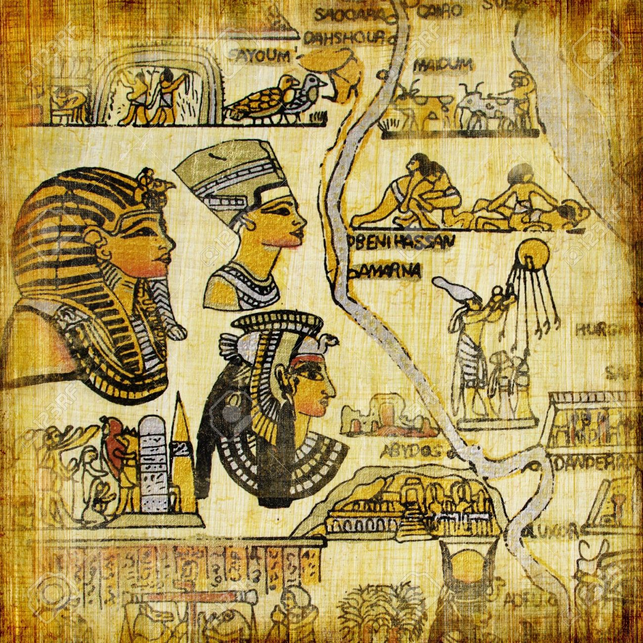 Old Egyptian Background Stock Photo Picture And Royalty Free - Vintage map of egypt