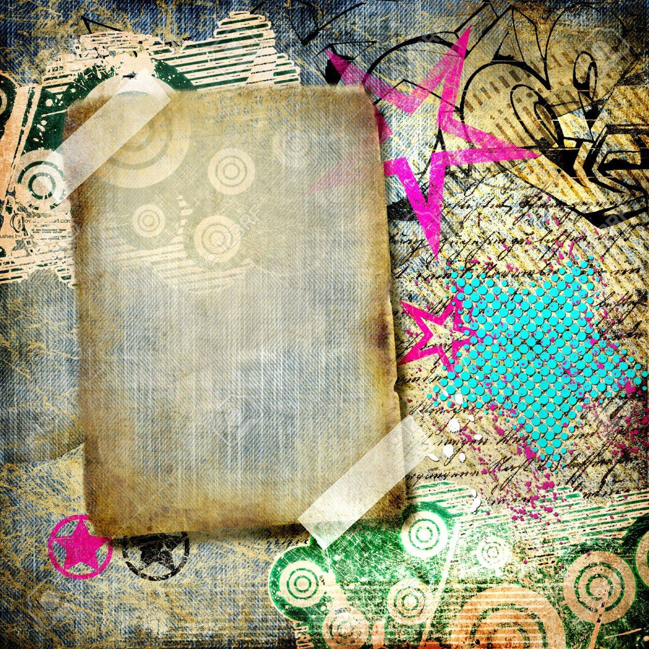 grunge art - vintage paper with graffiti elements and frame Stock Photo - 8120290