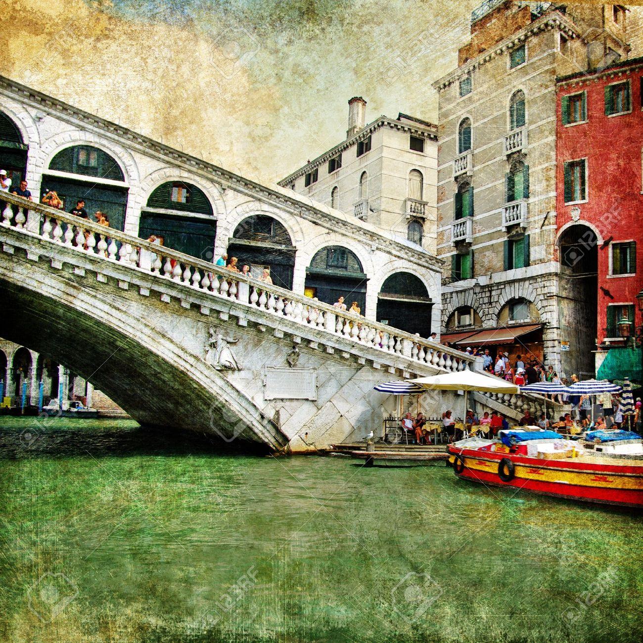 colors of beautiful Venice - artwork in painting style - Rialto bridge Stock Photo - 8538453