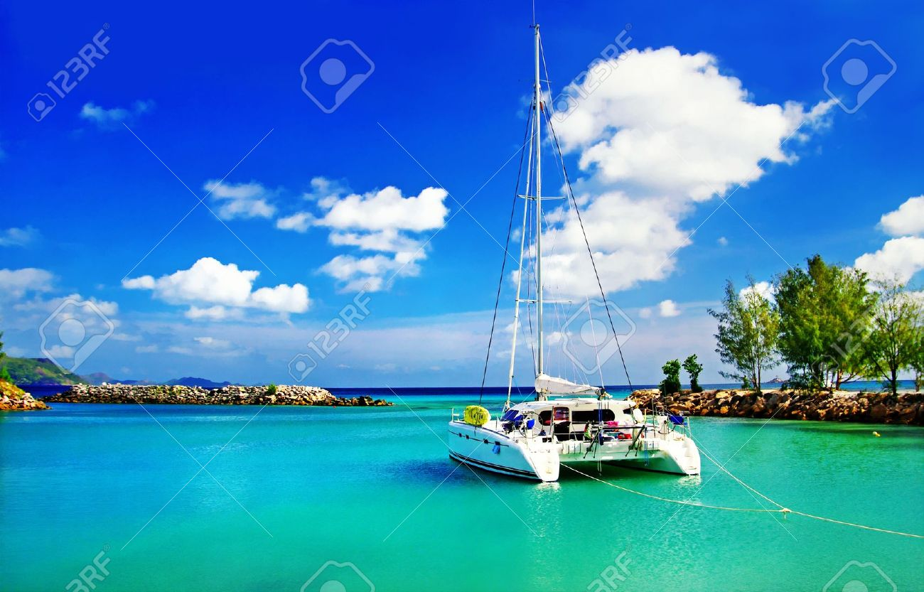 tropical scenery with yacht - 11598791