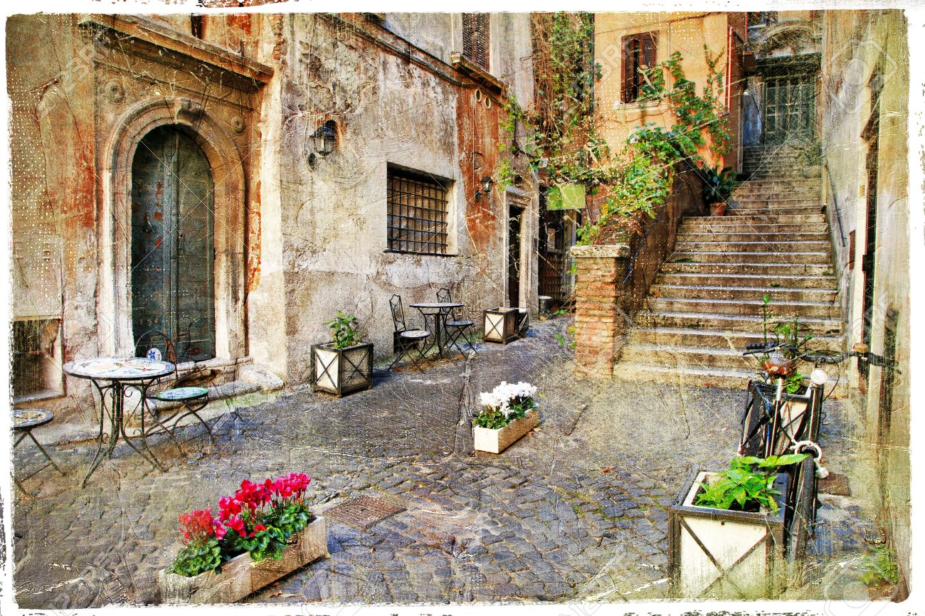 Old Street In Trastevere In Rome, Italy Stock Photo, Picture And ...
