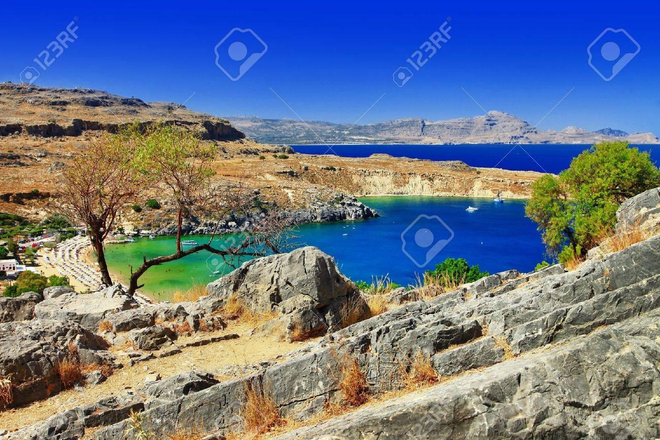 Griechischen Strände Insel Rhodos Lindos Bucht Lizenzfreie Fotos