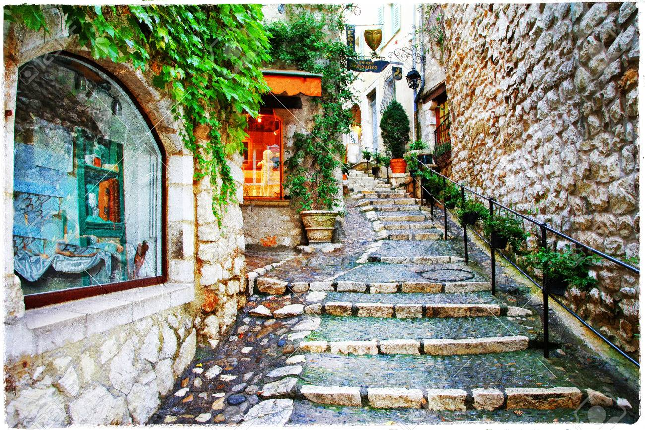 charming streets of old vilage Saint-Paul de Vence, France - 44234503