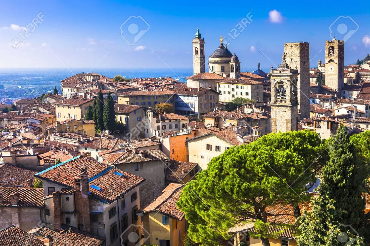 view of medieval Bergamo, Italy - 48997131