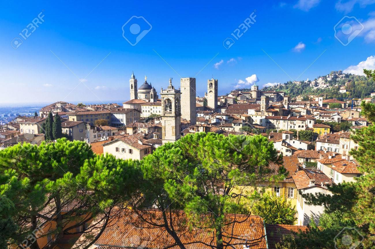 view of medieval Bergamo, Italy - 48997136