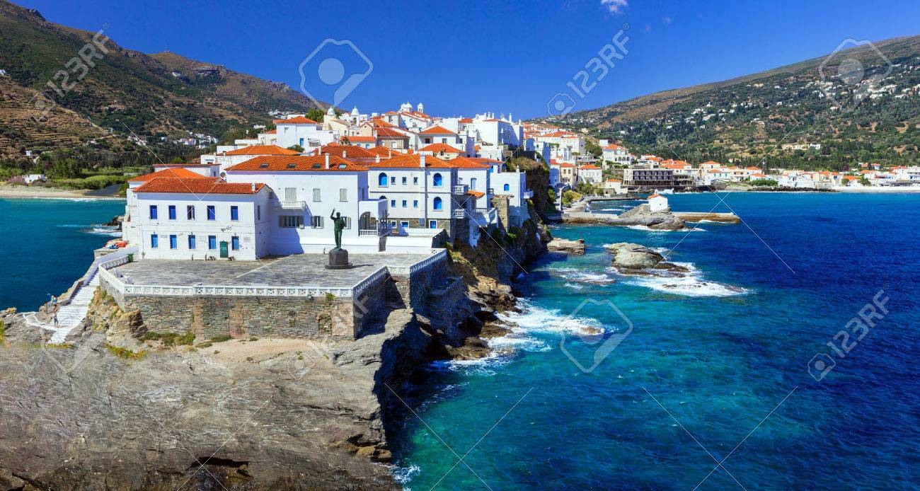 beautiful islands of Greece - Andros, view of Chora - 60394681