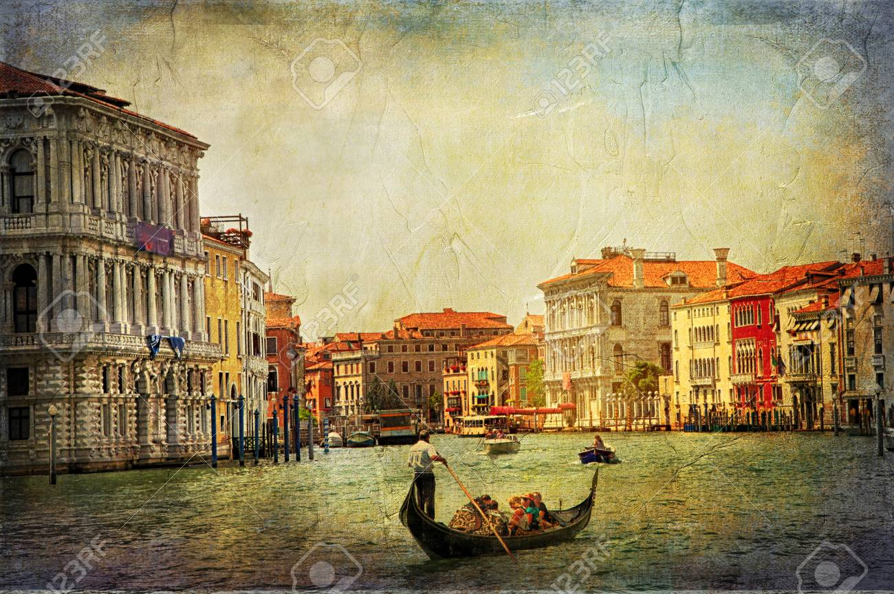 romantic Venetian canals - artwork in painting style - 64898473